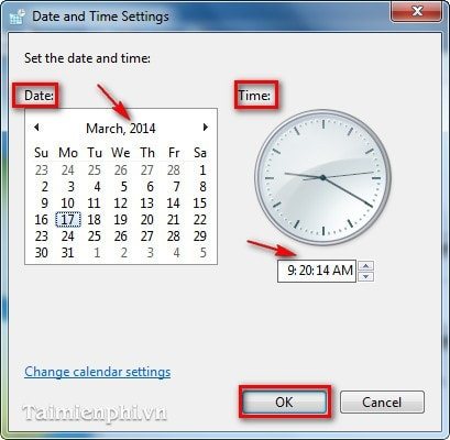 The main time, clock on computer win 7