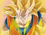 Video drawing Son Goku super level 3 with Paint enchanting