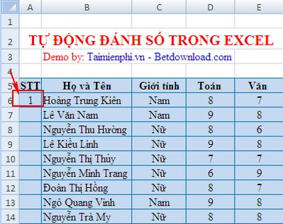 automatic registration in excel