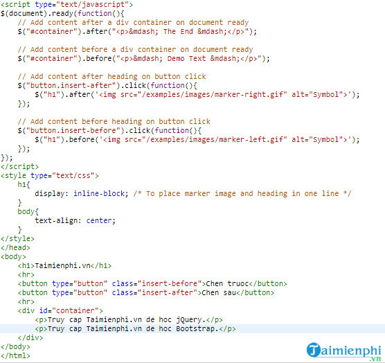 How to insert content into html file using jquery 9