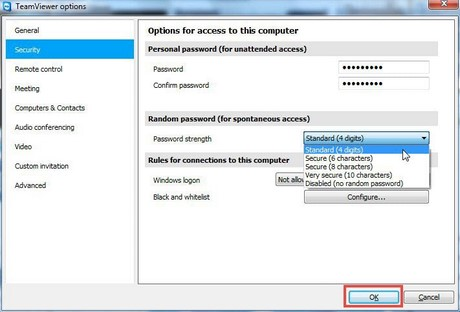 change the password on teamviewer