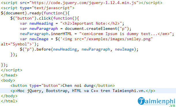how to insert content into html document jquery 11