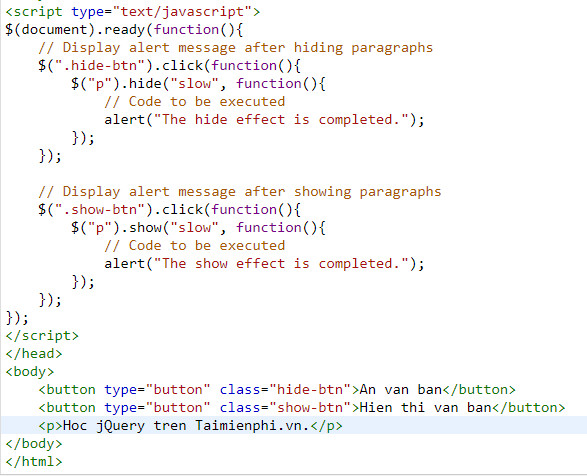 Show jquery html text version 5