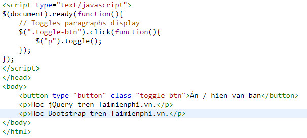 Show the jquery html text version 7