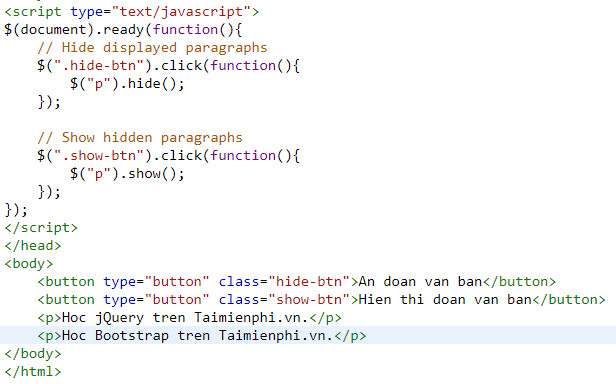 show the jquery html text components