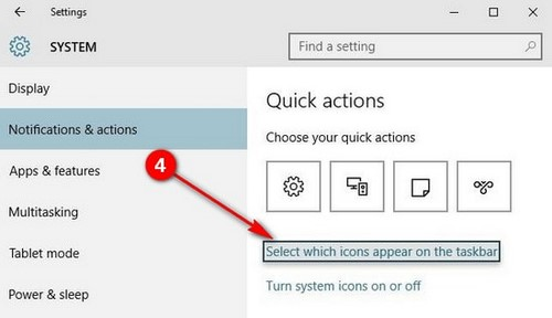 how to symbolize the tray on windows 10