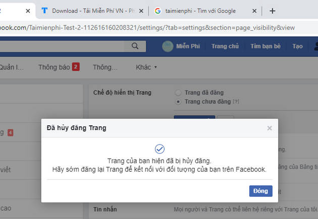 how to use facebook fanpage tam thoi 6