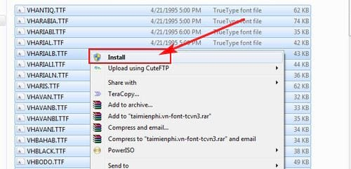 guide to install tcvn3 font on pc laptop