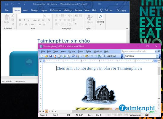 Install parallel office 2003 and 2016 on computer