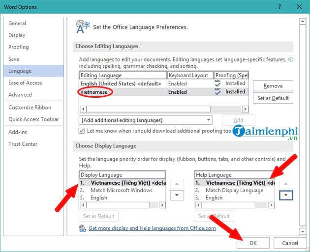 Vietnamese language for office 2019 13