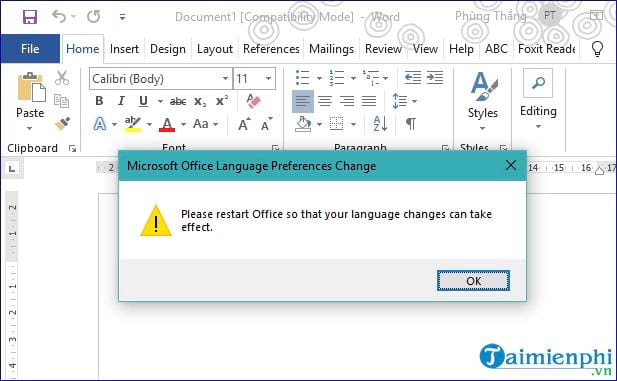 Vietnamese language for office 2019 14