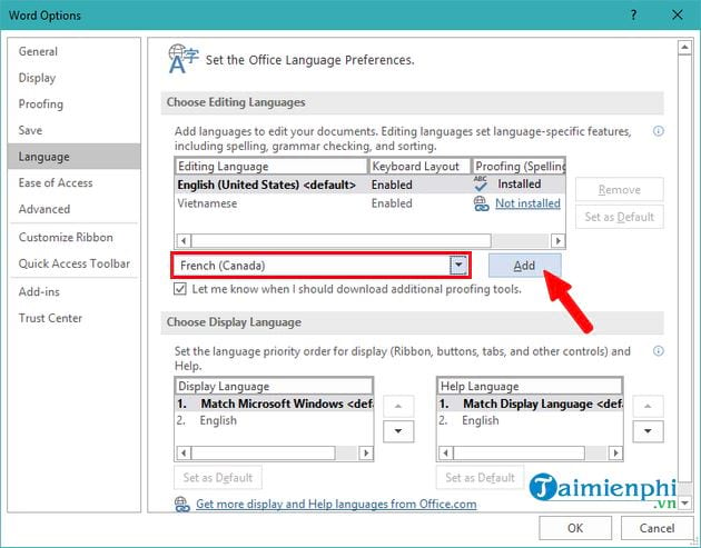 How to set up Vietnamese for office 2019