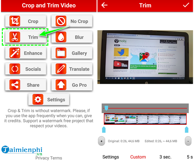 how to cat video on android fast and easy with crop trim video 9