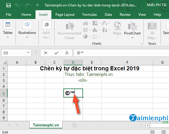 How to insert special characters in Excel 2019 6