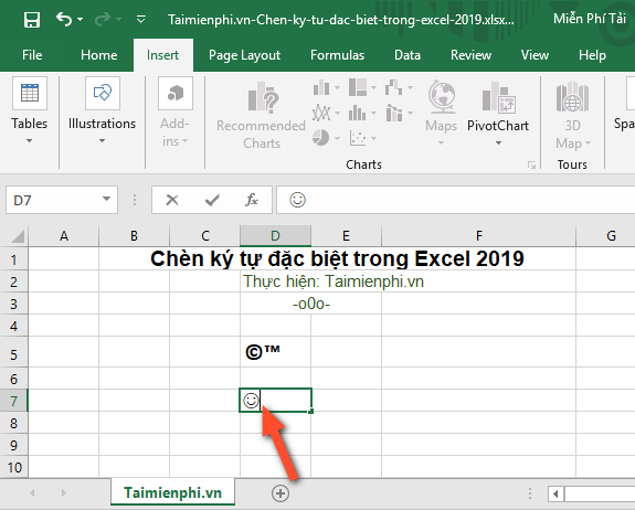 How to insert special characters in Excel 2019 7