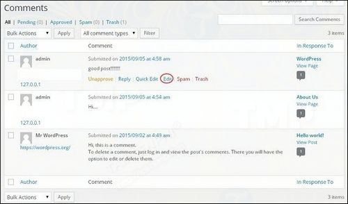 how to correct comment comments in wordpress 3