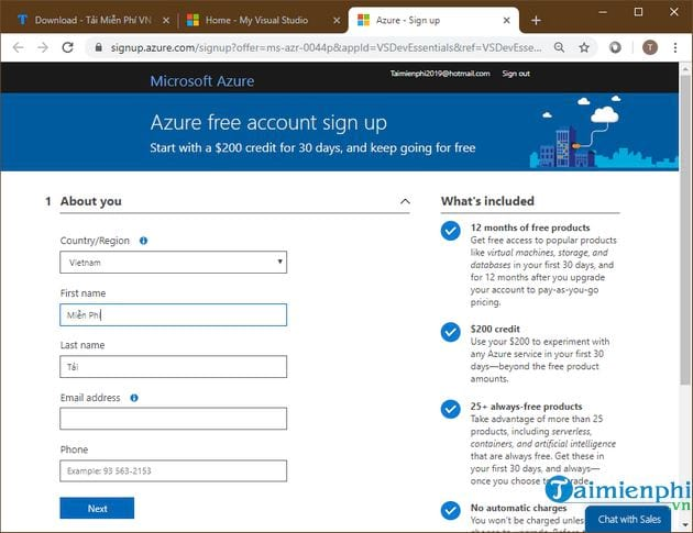 how to register azure 10