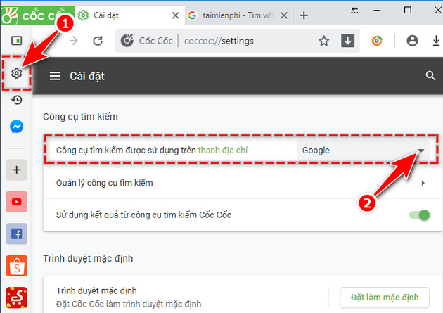 How to set Google search by Mac search on Coc 2