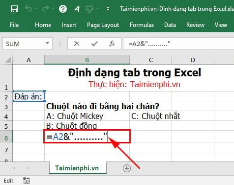how to tab in excel 3