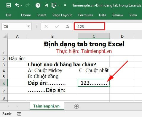 how to tab in excel 8