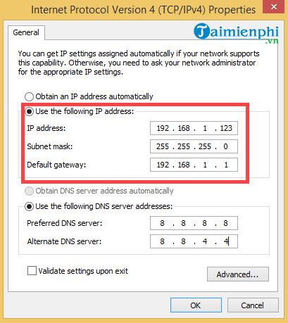 How to change the IP address for Windows 8 1 8