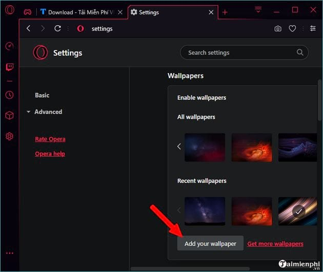 How to change the interface of Opera GX 7