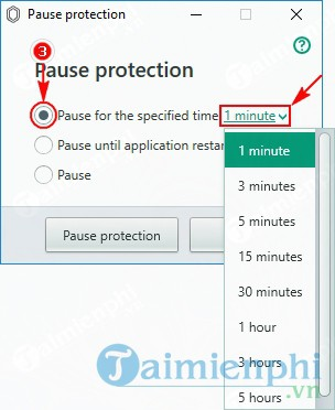 How to disable Kaspersky Protection by pause protection 3