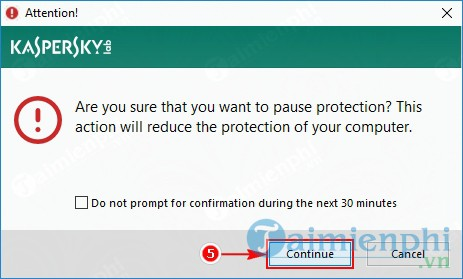 How to disable Kaspersky Protection by pause protection 7