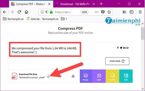 How to reduce the size of the pdf file online without using the mem 7 file