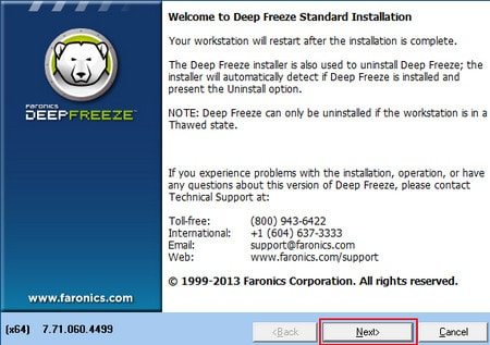Delete Deep Freeze Standard from the computer