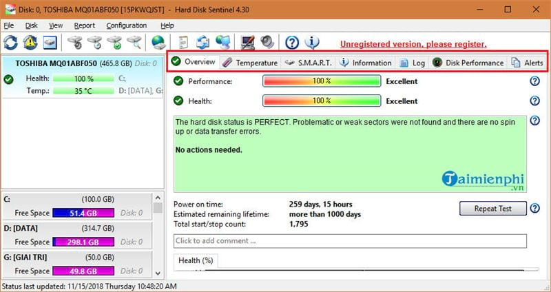 how to check status on hard disk sentinel 2