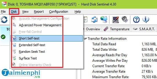 how to check status on hard disk sentinel 5