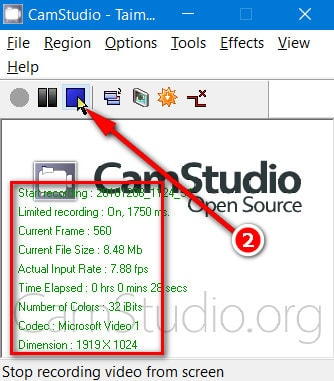 Guide to save the video file on camstudio