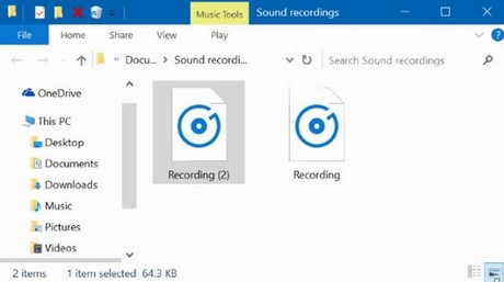 How to find a recording file on Windows 10?