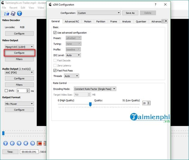 how to disable video in avidemux compress video 6