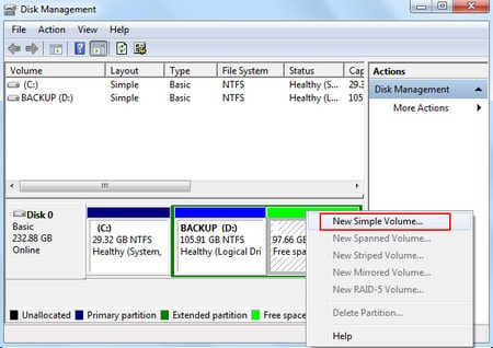 hard drive partition install win