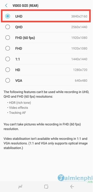 how to shoot 4k on galaxy s8 5
