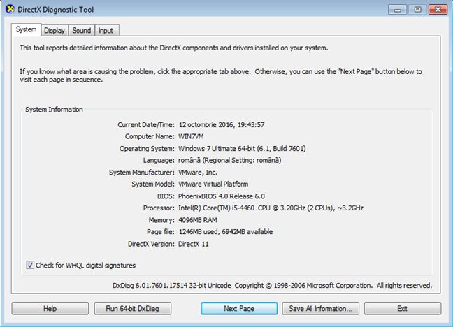 how to use the other directx diagnostic tool