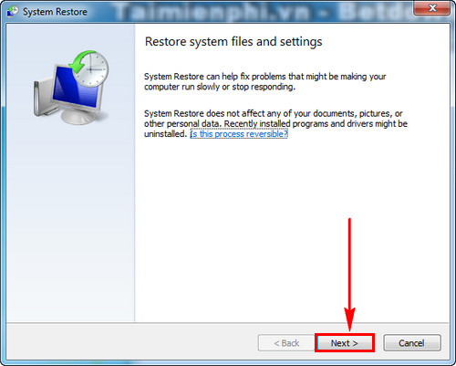 using system restore in windows 7