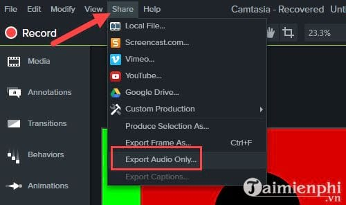 how to remove audio from video with camtasia studio 12