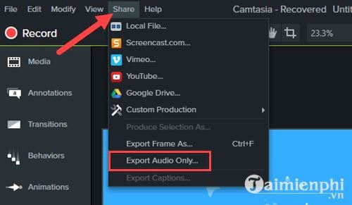how to remove audio from video with camtasia studio 8
