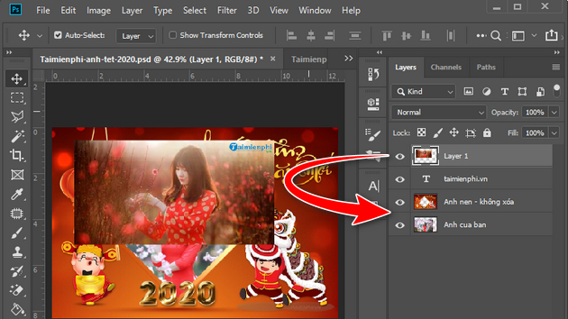 How to create a new banner of Tet 2020 with photoshop 7