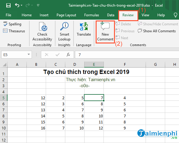Create notes in Excel 2019 2