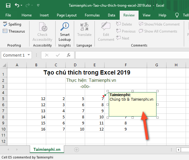Create notes in Excel 2019 3