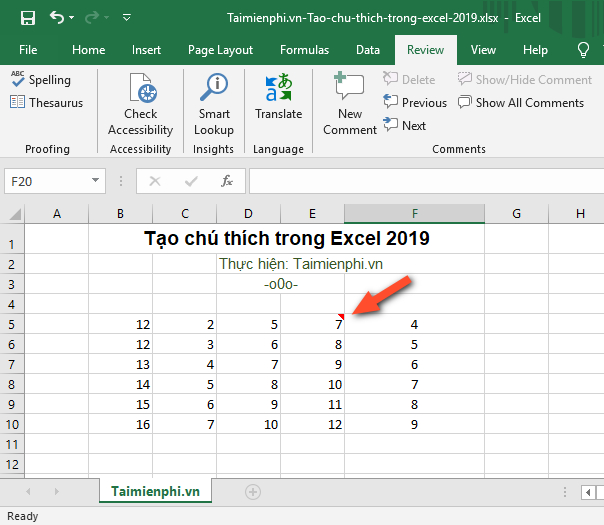 How to create notes in Excel 2019 4
