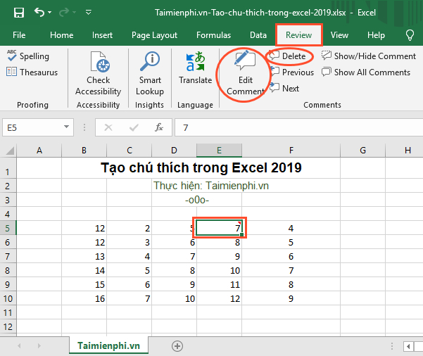 How to create comments in Excel 2019 5
