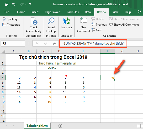 How to create captions in Excel 2019 7