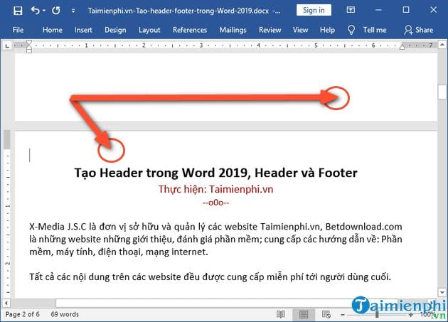 Create header in word 2019 header and footer 2