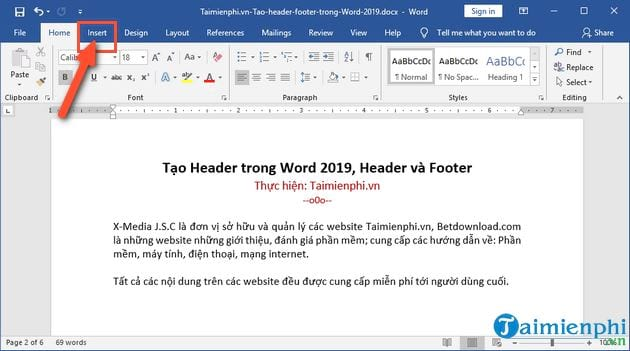 Create header in word 2019 header and footer 4