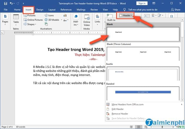 Create header in word 2019 header and footer 5